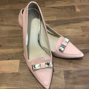 Coach Baby Pink Pumps with Silver Metal Bows